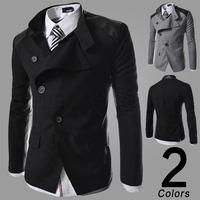 2014 new Splice Wool Jacket men's slim fit Windproof Outerwear Warm Mens Coat Winter Overcoat