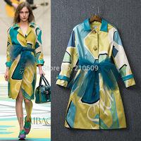 2014 autumn and winter women fashion color block print medium-long outerwear gauze lacing elegant trench