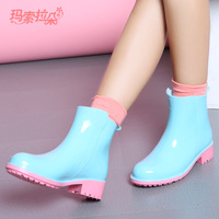 2014 hot styles super good quality Rain boots female fashion short martin rainboots slip-resistant water shoes FREE SHIPPING