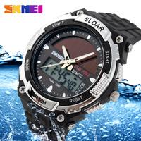 Luxury Mens Dual movement Sports Military Digital analog Watches 50M Waterproof relogio masculino Solar Power Skmei Wristwatch