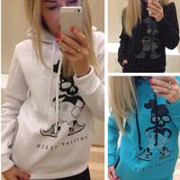 New 2014 Skull Printed Women Sweatshirt Fashion Sport Suit  Women Hoody Autumn Warm Women Thick hoodies