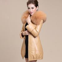 2014 Winter warm Women's Rabbit Faux Fur collar Coat Medium-long Hooded Fur FAUX FUR Coats Plus Size S-XXXL Overcoat