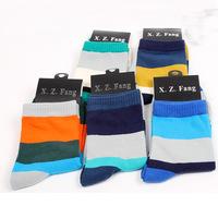 2014 New Wide stripes cotton men's socks color tube socks wholesale businessman socks high quality socks 5pair/lot