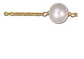 Free shipping! GOLD FILLED MEDIUM CABLE CHAIN  WTH 6MM PEARL.