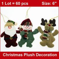 "60PCS/LOT  6"" Christams Stuffed Puppets Ornaments Plush Santa Claus Snowman Deer Xmas Tree Hanging Decor Holiday Gifts Wholesale"