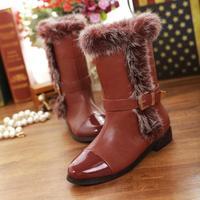 2014 Winter new real rabbit fur snow boots  women  flat heel high bucklet boots winter footwear