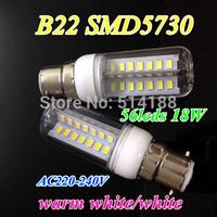 New style Corn Bulb 18w smd5730 chip 56 LED Light Home Bedroom Lamp B22 AC220V-240V 360 degree warm /pure white