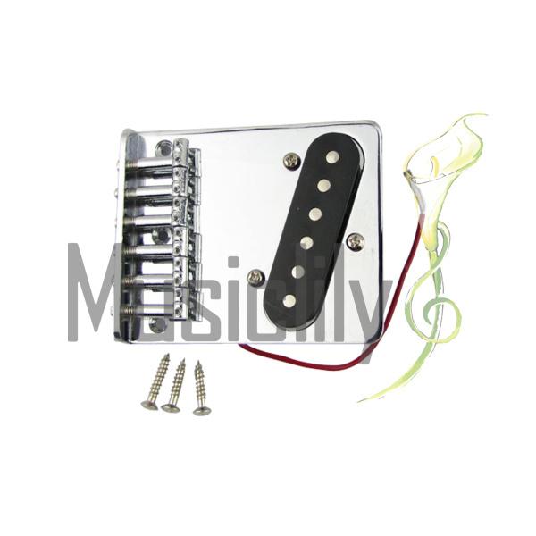 Musiclily Telecaster Custom Saddle Ashtray Bridge With Pickup Assembly Kit For Fender Vintage Tele Electric Guitar, Chrome(China (Mainland))