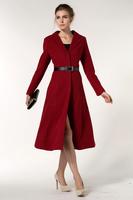 2014 new fashion women winter warm long sleeve plain red woolen overcoat trench
