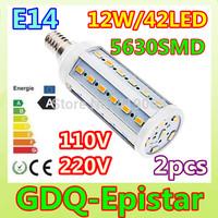 2pcs LED Corn bulb light E14 42LEDS 12W 110V 220V White/Warm White lamp Spot light Energy saving lamps High Bright 360 degree