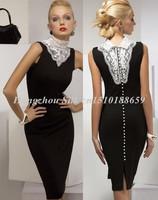 women sexy winter long dresses knee length patchwork new 2014 sheath autumn dress sleeveless stand pencil office dress S-4XL