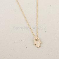 Wholesale 30pcs/Lot Metalwork Gold Silver Simple Hamsa Hand Pendant Charm Necklaces Statement Necklace For Women