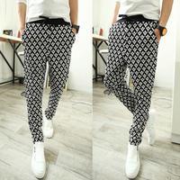Mens harem Sweatpants Joggers Fashion Plaid Stylish Sport Pants Trousers Size M L XL XXL