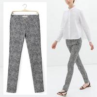 Women's contrast Color Leopard Pattern Print Slim Long Pencil Pants Ladies Casual Trousers 2014