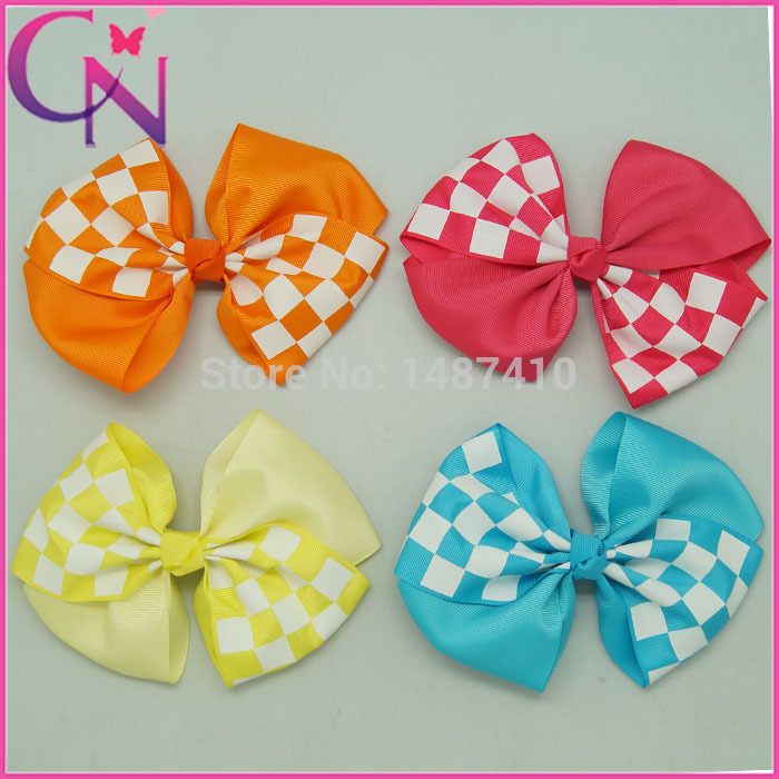 Free Shipping 5pc/lot 6.5inch High Quality Grosgrain Hair Bows ,Wholesale Baby Hair Clips,Plaid Hairbows Hairpins CNHB-14031910(China (Mainland))