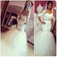 Custom Made 2015 Fashionable Romantic Crystal Waist Tulle Robe De Mariage Mermaid Lace Wedding Dress Bridal Gown