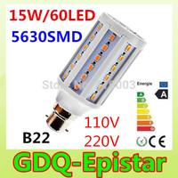 5pcs LED Corn bulb light B22 60LEDS 15W 110V 220V White/Warm White lamp Spot light Energy saving lamps High Bright 360 degree