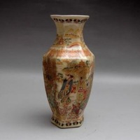 Antique collection of ancient ceramic enamel ladies hexagonal vase freeshipping