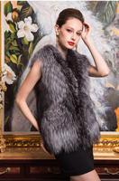 2014 autumn and winter fashion solid color plus size faux female vest