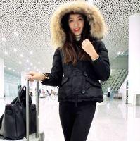 New arrival 2014 winter women raccoon fur hooded down short jacket zipper front buttons long-sleeve parkas warm brand outerwear