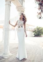White Chiffon Beading Embroidery Long Luxury Wedding Dresses Mermaid Floor Length Bridal Gowns 2015 Free Shipping vestidos