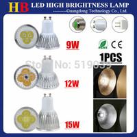 1X Dimmable GU10 GU5.3 E27 E14 B22 Base 9W 12W 15W LED Spotlight bulb Lamp White/Warm/Cool White AC 110V 220V 230V LED Lighting