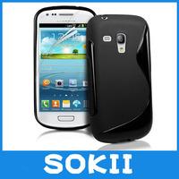 [case]100pcs/lot For Galaxy S3 Mini i8190 TPU sline TPU case,S Line Wave Gel Case Cover For Samsung I8190 Galaxy S3 Mini case