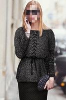 2014 High fashion Women sweater Batwing Sleeve Waist Rope Elastic Slim Crochet Pullovers European Style B7031Z Fshow