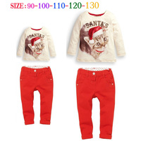 Fashion Child Girl Clothing Sets Christmas Cat T shirts + Red Pants Children's Sets Girls 2-7 Years