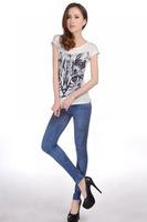 Autumn New 2014 Women's Stretch Pants Tie Dye faux jeans elastic Pencil Pants Women Trousers Casual Pants Skinny Pants 13348C.