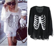 2014 Women's Trendy WILDFOX Sequin Skull Beads Hole Sweater Mermaid Irregular Hem Loose Knitted Crochet hole Sweater (China (Mainland))