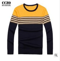 2014 new autumn O-neck mens stripe sweaters slim fit thin knitting fashion casual brand male clothing British style M-2XL size