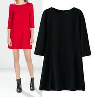 Elegant Casual Women Dress Three Quarter Sleeve Round Neck Black Red Dress Above Knee Mini Solid Vestido Femininos 2014 New