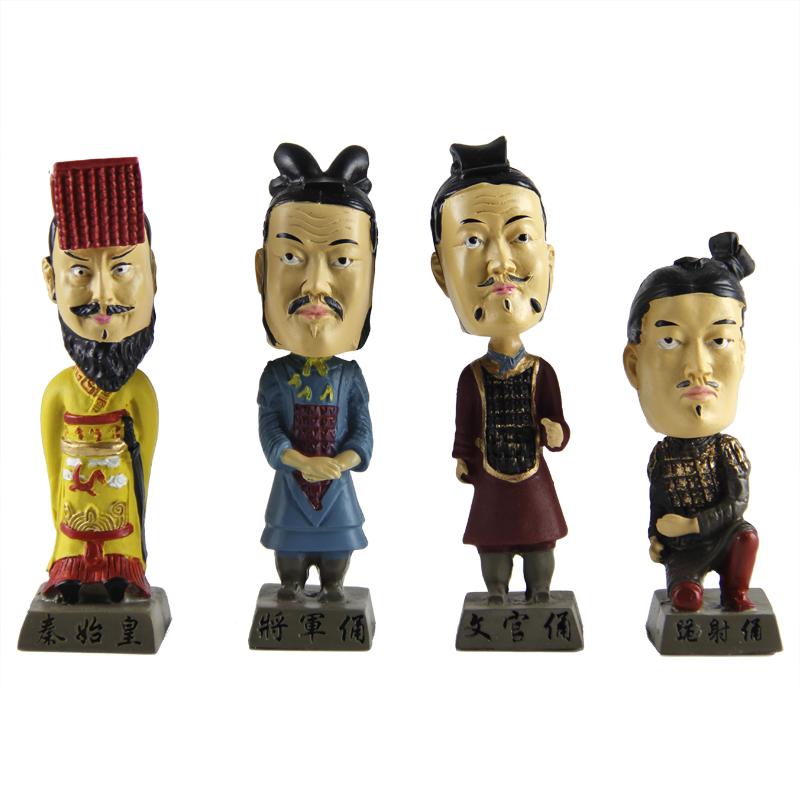 Terracota colorido ternos balançando a cabeça de terracota artesanato enfeites criativos pequenos presentes terno boneca grátis frete(China (Mainland))