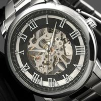 Men's Skeleton Antique Roman Numerals Stainless Steel Hand-Wind Mechanical Watch