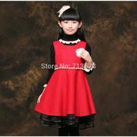 2014 Autumn Winter Children's Clothing One-piece Dress Girls Short-sleeve Woolen Dress Bady Princess Dresses