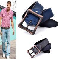 Polished 100% Cowhide Leather Blue Belts For Men Jeans  Mens Belts Luxury Vintage Buckle Strap Cinto Masculino Ceinture MBT0208