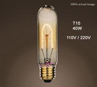 Retro Incandescent Vintage Light Bulb DIY Handmade T10 Edison Bulb Fixtures,E27/110V/220V/40W lamp Bulbs Free Shipping