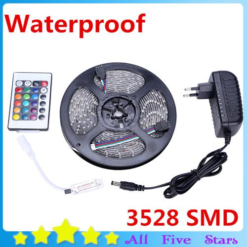 Impermeável LED Strip 5m 300Leds 3528 SMD com adaptador 12V 2A, 24key Mini controlador remoto apenas para RGB tira de luz