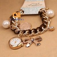 analog crystal rhinestone diamond watch women fashion lady watch luxury pearl pendant woman dress vintage wristwatches wholesale