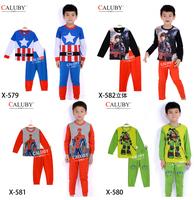 New hot movie costume clothes frozen queen captain america boys pajama set  baby kids Spider-Man sleepwear children pyjamas