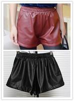 Hot! fashion PU leather Shorts for women leasure Shorts Elastic Waist solid casual Wear  A672