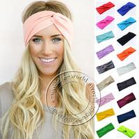nieuwe 18 kleuren vrouwen stretch twist yoga sport tulband hoofdband hoofd wrap bandana hoofddeksels haaraccessoires a0406 gratis verzending
