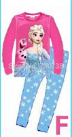 Retail New 2014 frozen baby girls clothing sets children kids boys summer pajamas child Anna Elsa princess clothes Free shipping