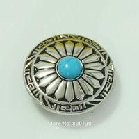 10pc  1-1/8'' (3.0cm) Wild Hearts Concho Leathercraft Silver w/ Blue Stone Leathercraft Concho