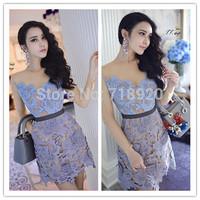 2015 Purple big flower lace Mesh Voile  dress prom vestidos Novelty Dress 3048