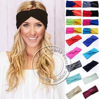 New 19 Colors Women Stretch Twist Headband Turban Sport Yoga Head Wrap Bandana Turbante Hair Accessories Free Shipping A0399