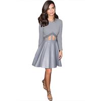 Celeb Fashion Hollow Splicing Fitting Long Sleeved Swing Party Shift Slim Dress