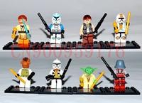 8pcs/lot Star Wars Block Toy Mini figures Yuda Captain Rax Obi Wan Clone Trooper R4,Compatible