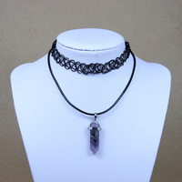 Double Layer Vintage Stretch Tattoo Choker Amethyst Crystal Choker Necklace Women Jewelry Set